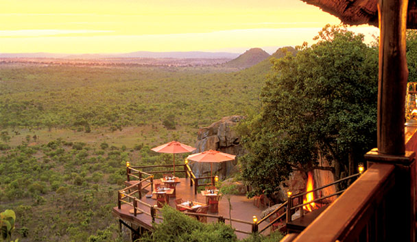 View from the Ulusaba Private Game Reserve - including outdoor terrace and acres of bush land