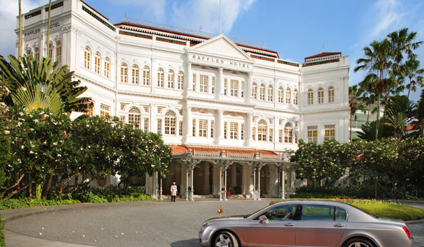 The exterior view of the luxury Raffles Hotel Singapore