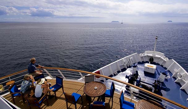 View from on-board the La Pinta Yacht exploring the Galapagos Islands