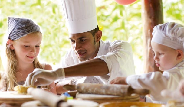 Children's cooking activity at Le Touessrok