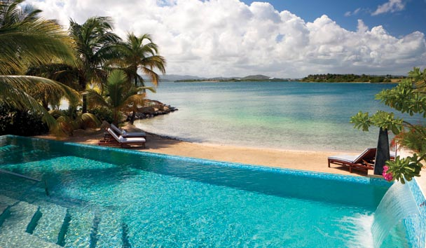 Sandy Cove Villa at Jumby Bay Island: Pool/Beach View