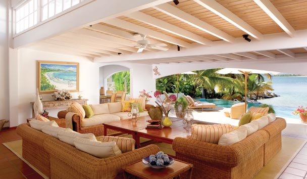 Sandy Cove Villa at Jumby Bay Island: Living Area/Sea View