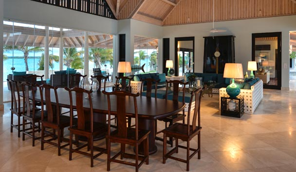 Lazy Lizard Estate House at Jumby Bay Island: Dining Area
