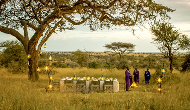 Four Seasons Safari Lodge, Serengeti: Bush Dinner Set-up