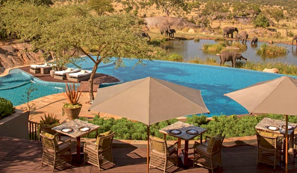 Four Seasons Safari Lodge, Serengeti: Terrace and Outdoor Pool with View of Wildlife