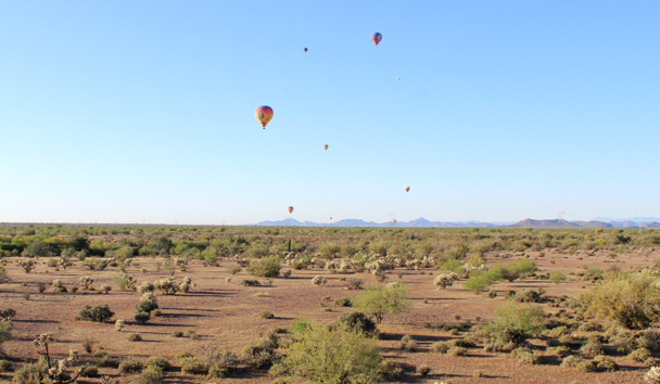 Hot-air balloons over Scottsdale