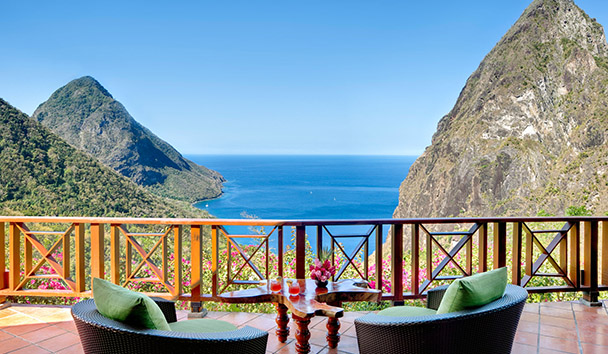 Terrace with views of The Pitons