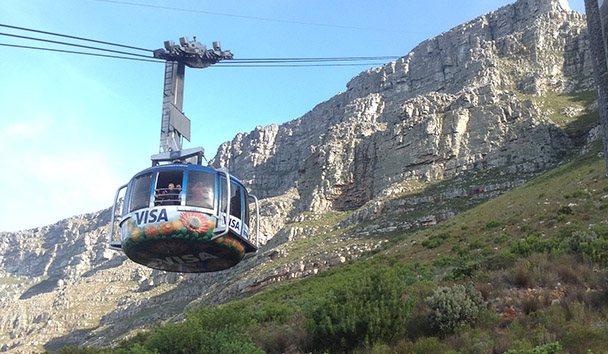 Cable car up Table Mountain