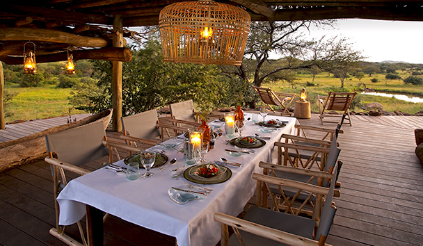 Singita Faru Faru Lodge: Dining Area with Watering Hole View