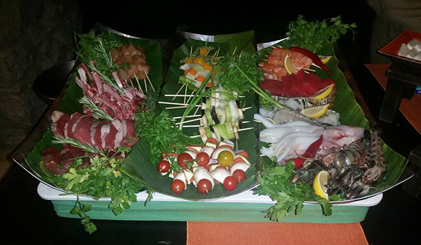 Jess' picture of the food at the private barbecue at Six Senses Zighy Bay