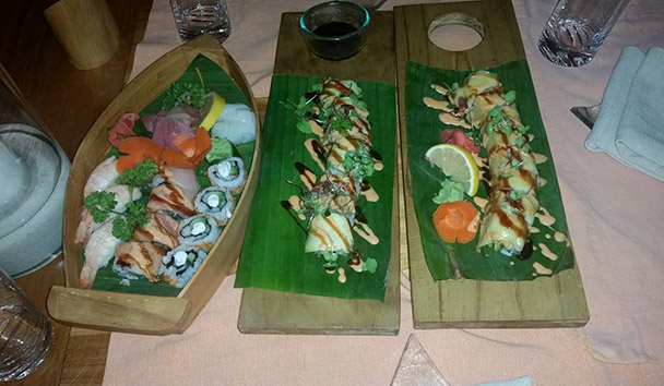 Jess' picture of the Sushi platter at Six Senses Laamu
