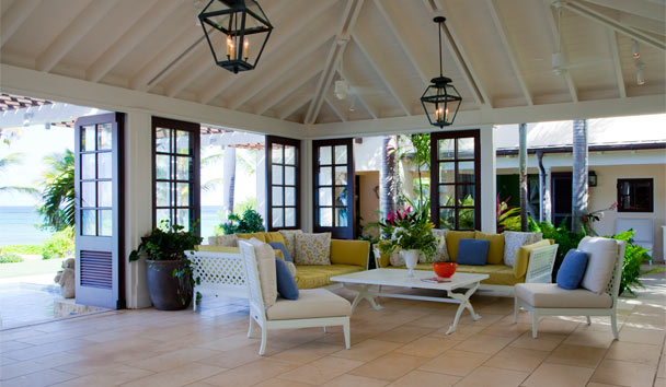 Frangipani Point Estate House at Jumby Bay: Interior Seating Area