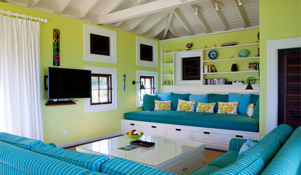 Frangipani Point Estate House at Jumby Bay: Living Area
