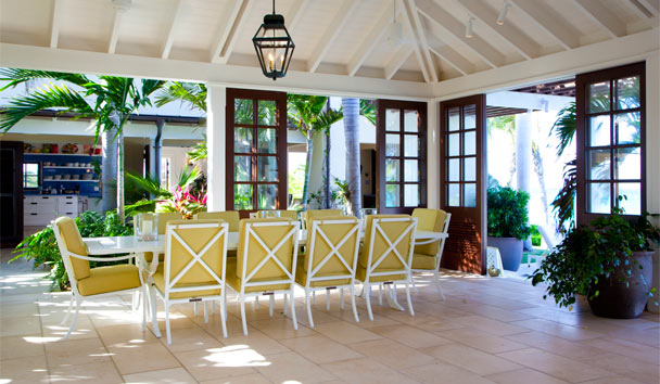Frangipani Point Estate House at Jumby Bay Island: Dining Area