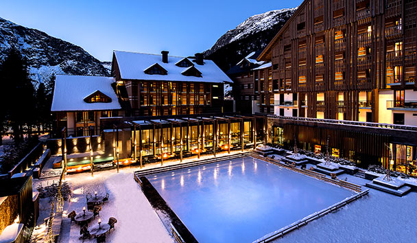 The Chedi Andermatt: Courtyard and Ice Rink