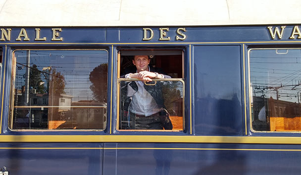 Paul on board the Venice Simplon-Orient-Express train