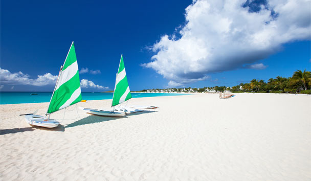 Colourful catamarans on a beach in Anguilla