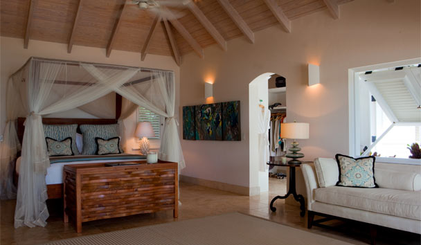 Sandpiper Beach House, at Jumby Bay Island: Bedroom