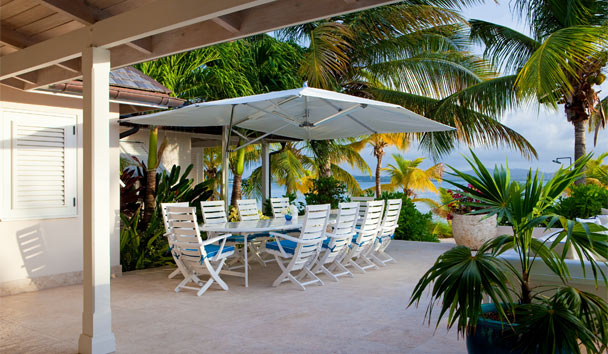 Sandpiper Beach House, at Jumby Bay Island: Outdoor Sitting Area