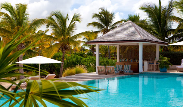 Sandpiper Beach House, at Jumby Bay Island: Poolside Area