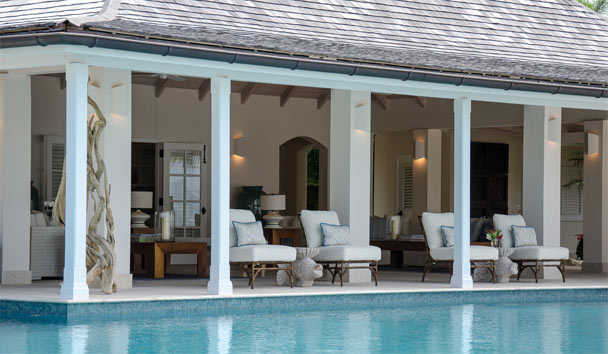 Sandpiper Beach House, at Jumby Bay Island: Poolside Covered Area