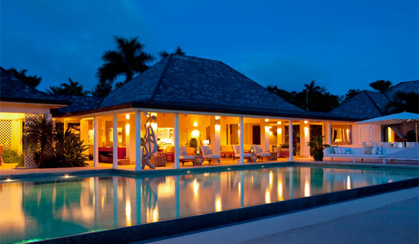 Sandpiper Beach House, at Jumby Bay Island: Pool View