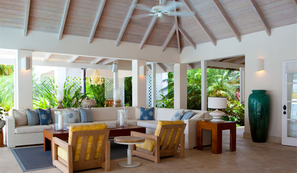 Sandpiper Beach House, at Jumby Bay Island: Living Area