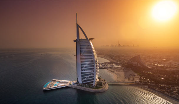 Aerial view of the new Burj Al Arab and its terrace