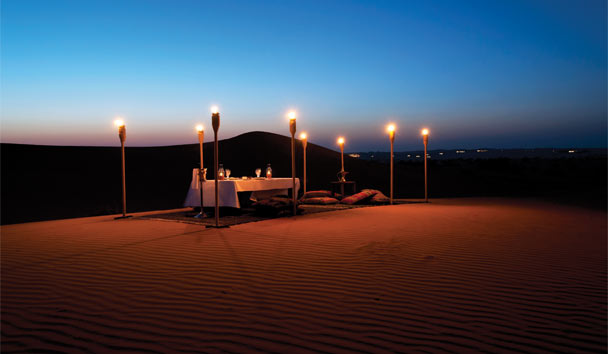 Al Maha, a Luxury Collection Desert Resort & Spa: Dine under the stars in the romantic dunes