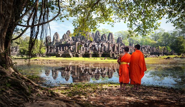 Visit the world's largest religious monument, Angkor Wat, in Cambodia