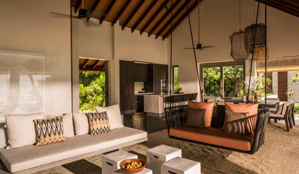 Four Seasons Private Island Maldives at Voavah: Three-Bedroom Beach Villa Living Area