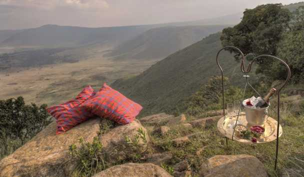 &Beyond Ngorongoro Crater Lodge: Romantic Drinks Overlooking The Crater