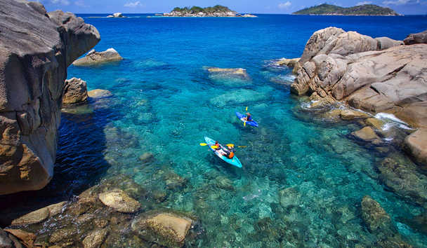 Six Senses Zil Pasyon: Kayaking at Koko Island