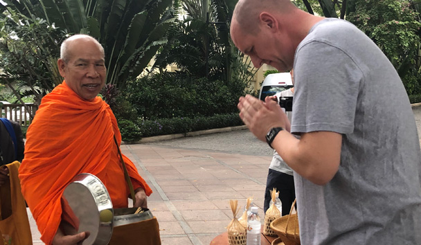 David taking part in the Monk Offering