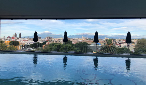 The rooftop pool at Rosewood Puebla