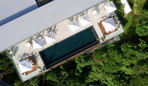 Cliff Top Residence: Pool Aerial View