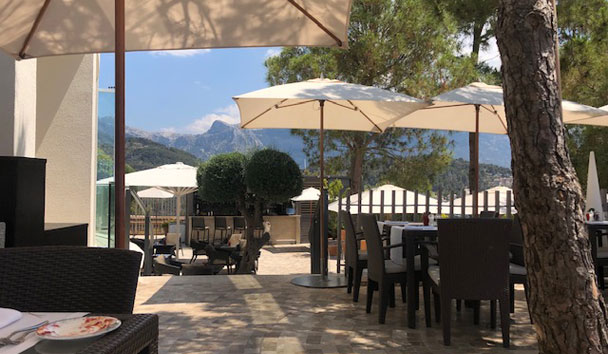 Mountain views from Cap Roig Brasserie's terrace